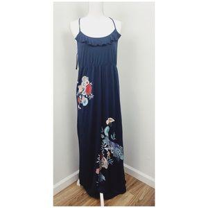 Jessica Simpson   Navy Ruffled Floral Maxi Dress